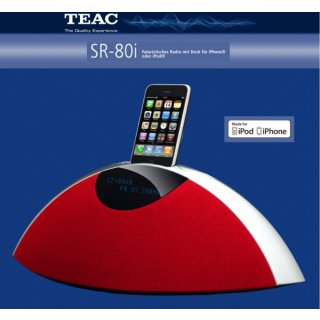 TEAC SR-80i Rot - Design-Radio für Ihr iPhone® mit MW/UKW-Tuner