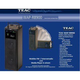 TEAC WAP-R8900 Schwarz - Mobiles, netzstromunabhängiges, WLAN-fähiges UKW- / Internet-Radio und Media-Player mit neuem Hochleistungsakku