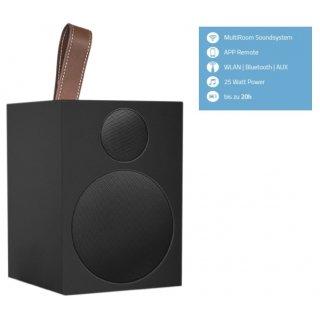 Quadral Breeze One, Schwarz - Multiroom-Lautsprecher mit WLAN- und Bluetooth-Schnittstelle, AUX IN und Akku